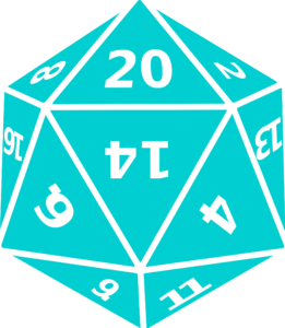 a blue twenty-sided die
