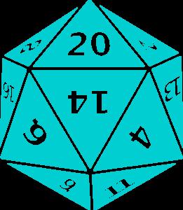 a blue twenty-sided die