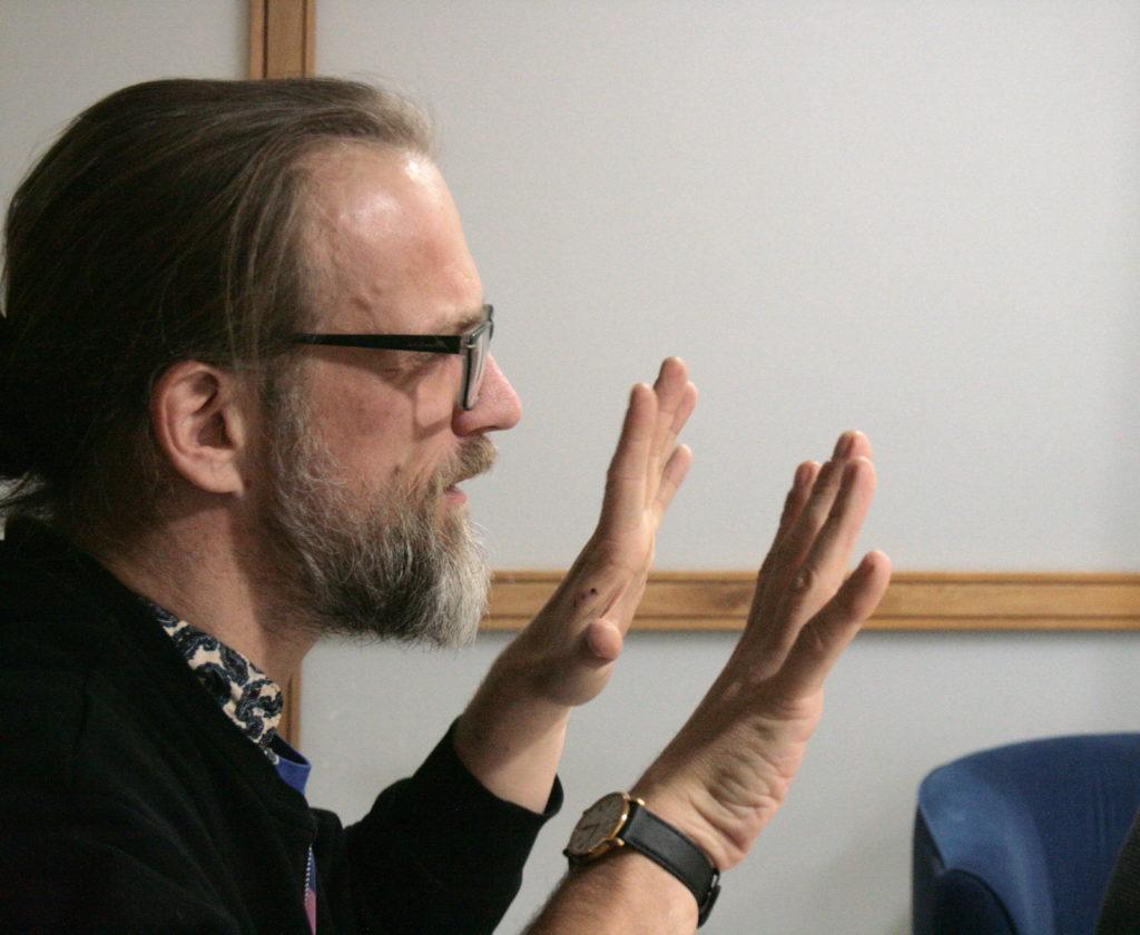Eric Nieudan running Dungeons & Dragons in an office