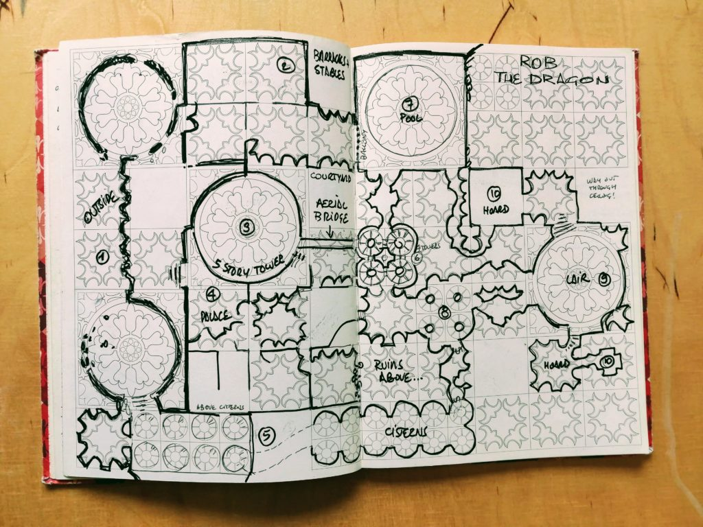 Rob the Dragon! A dungeon map drawn on patterned paper