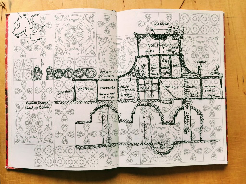 A side view to the Temple of Zargon. One of several homemade dungeon maps drawn on patterned paper.