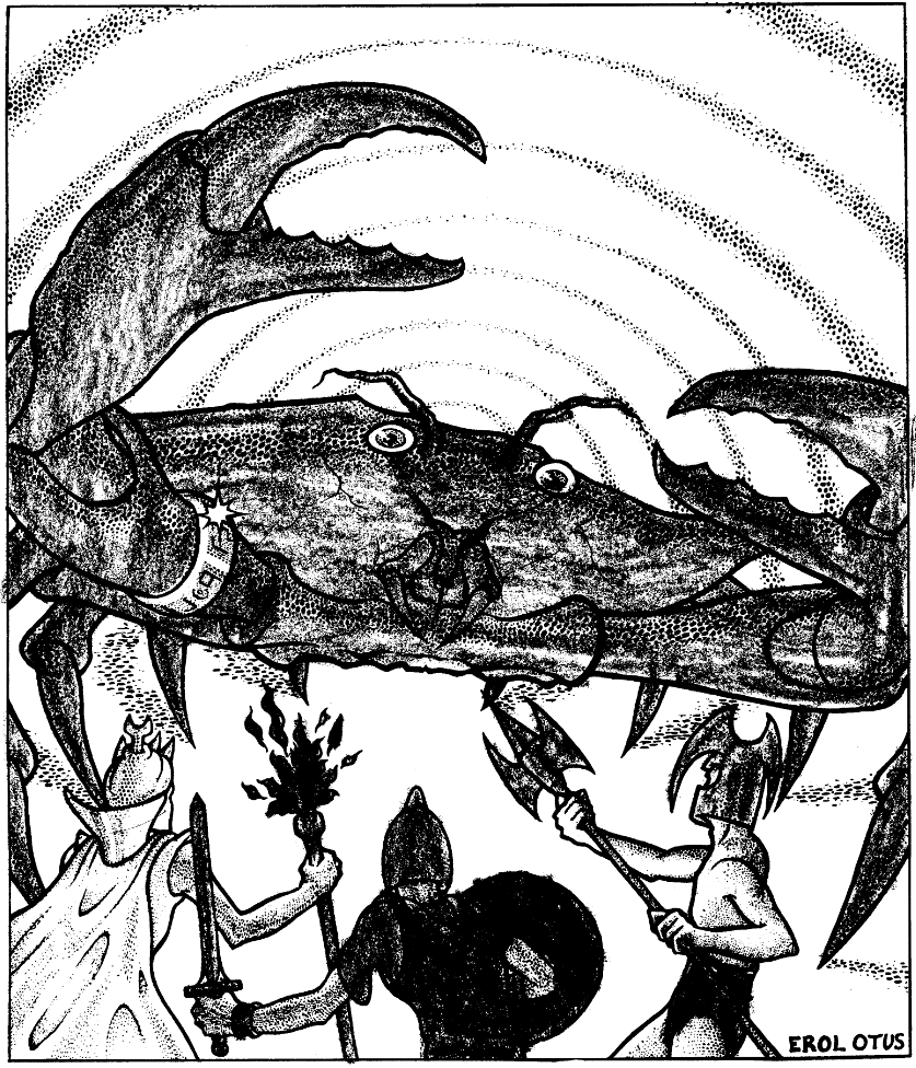 The giant crab from White Plume Mountain, by Erol Otus. Not seen in Lunchtime Dungeons... yet.