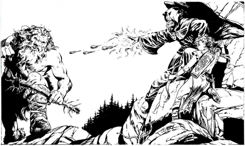 A wizard casting Magic Missile at an ogre. Art by Larry Elmore