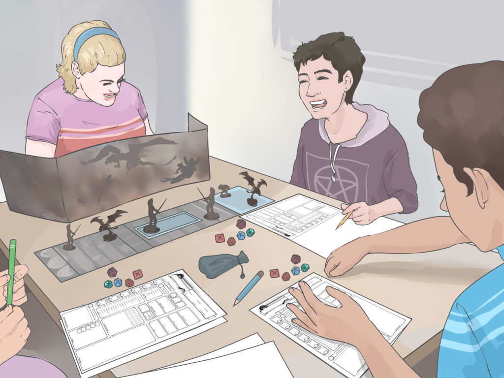 Cool people playing D&D. Pic lifted from this great Wikihow tutorial: https://www.wikihow.com/Create-a-Dungeons-and-Dragons-Character