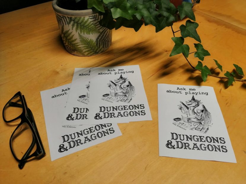Ask me about playing Dungeons & Dragons flyers -D&D flyers - art by Tony DiTerlizzi