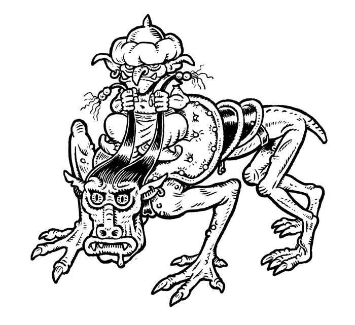 A goblin mamluk riding a tamed thoul, from Eric Nieudan's Goblinburg, art by Didier Balicevic