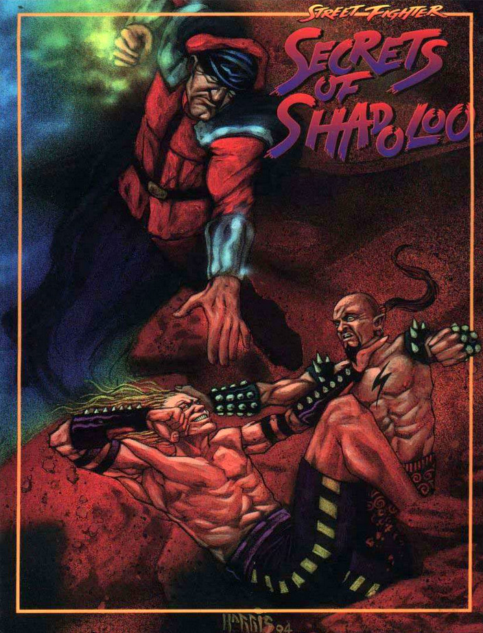The cover of the Secrets of Shadoloo supplement for the Street Fighter storytelling games by White Wolf Studio
